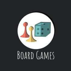A creative template for a gaming logo. This can be easily edited in Design Wizard. A dark background with a circle text box displaying illustrations and white texting 'board games'.