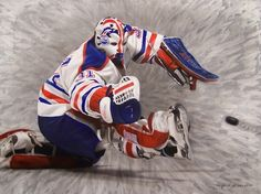 Grant Fuhr painting by Keith Nelson #grant #fuhr #keith #nelson #edmonton #oilers #art