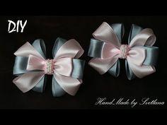 Бантики из лент для школы Канзаши DIY Kanzashi bow of ribbon Curva da fita Baugen av bånd 4 - YouTube