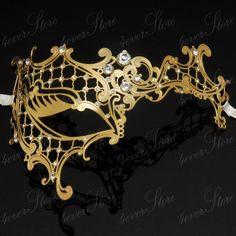 Gold Phantom Goddess Masquerade Mask with Diamonds - Theater and Masquerade Ball Mask