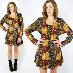 vtg 90s grunge revival PATCHWORK FLORAL print SLOUCHY BABYDOLL mini dress S/M/L $48.00