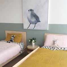 In this shared room, they've used a much softer shade of blue which works just as well with the beautiful mustard. Using mustard bedding is a great way of adding mustard tones to a bedroom as you can change it easily if you ever tire of it.