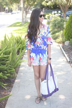 blue floral romper and sole society gladiators