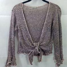 7f25edb7da Baik Baik Honolulu Sweater Brown Bolero Shrug Cardigan Lightweight Size S M   BaikBaik