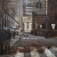 "Patrick Pietropoli, New York Street X, 2014, Oil on Linen, 20"" x 20"" #art #axelle #painting #nyc #streetscape #urban"