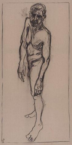 Billy Childish (British, b. 1959), Self, 2011. Charcoal on linen, 244 x 122 cm.