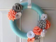 Modern Spring Wreath, Aqua, Coral, Grey and White Yarn Wreath, Door Wreaths Felt Flower Wreaths, Felt Wreath, Wreath Crafts, Diy Wreath, Felt Flowers, Diy Crafts, Yarn Wreaths, Ribbon Wreaths, Tulle Wreath