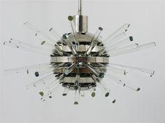 1960s RARE BAKALOWITS MIRACLE SPUTNIK CRYSTAL GLASS ROD CHANDELIER LAMP MIRAKEL