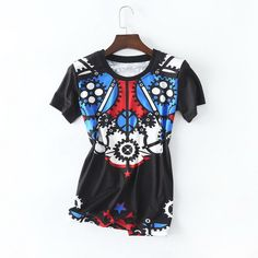 100%Cotton Women Fashion TShirt 2017 Summer Ladies O-Neck Color Block Print Short Sleeve Black White Cotton T-Shirt Tops &Tee