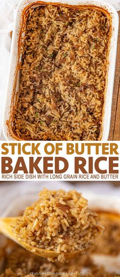 Stick of Butter Rice is a buttery casserole-like side dish with beef broth French Onion Soup white rice and butter that bakes into a creamy rich holiday favorite recipe rice side sidedish holidays dinnerthendessert White Rice Recipes, Rice Recipes For Dinner, Side Dish Recipes, Hamburger And Rice Recipes, Recipes With Rice, Minute Rice Recipes, Hamburger Side Dishes, Rice Bake Recipes, Risotto