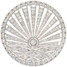 Art Deco Circular Diamond-Set Sunrise Brooch