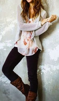 Black Jean With Floral Top Comfy Cardigan