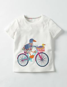 It's full steam ahead with this transport-themed T-shirt. An intricate appliqué canal boat design is joined by three more options – a bike, motorcycle and caravan – all made from soft, cosy cotton. Just slip one on with a favourite pair of jeans and get moving.