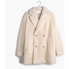 MADEWELL Sherpa Peacoat ($198) ❤ liked on Polyvore featuring outerwear, coats, pale muslin, double breasted coat, oversized peacoat, pink coat, vintage pea coat and pink double breasted coat