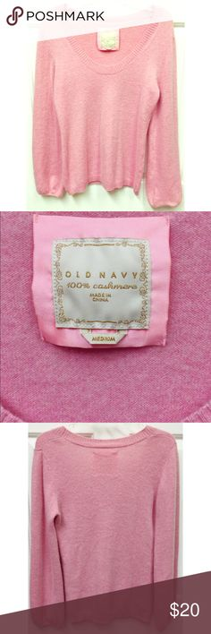 Old Navy Pink Cashmere Sweater size M My daughter only wore this sweatet once and it such a pretty sweater. Its Pink cashmere with a scoop neck & bell sleeves. size M Old Navy Sweaters Crew & Scoop Necks