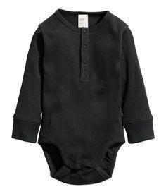 Romper met lange mouwen   Zwart   Kinderen   H&M NL