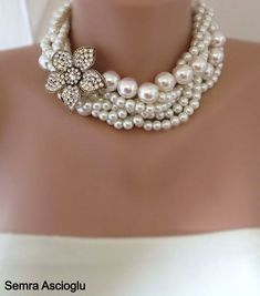Chunky Layered Ivory Glass Pearl Necklace with Rose Rhinestone Brooch brides bridesmaids on Etsy, $119.00