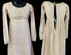 X RARE ANTIQUE 1810 REGENCY EMPIRE RED CHECK COTTON GOWN DAY DRESS FAB CONDITION #VINTAGE