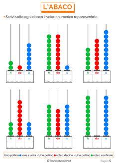 Esercizi sull'Abaco da Stampare per la Scuola Primaria | PianetaBambini.it Kindergarten Math Worksheets, Preschool Math, Speech Language Therapy, Speech And Language, Class 1 English, Third Grade Math, Place Values, Special Education, Kids