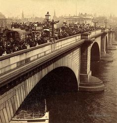 London Bridge Crowded with Carriage and Pedestrian Traffic: London, England 1896 December 21