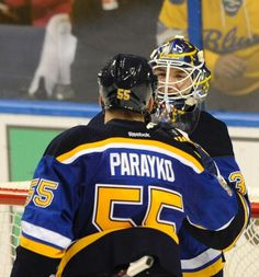 St. Louis Blues' goalie Pheonix Copley, right, is congratulated by Colton Parayko (55) after their victory over the Dallas Stars during in a preseason NHL hockey game, Friday, Sept. 30, 2016, in St. Louis. (AP Photo/Bill Boyce)