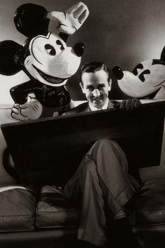 Walt Disney with Mickey & Minnie Mouse.