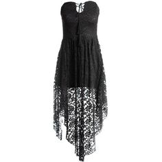 Sans Souci Allover lace tube dress ($35) ❤ liked on Polyvore featuring dresses, black, lace up front dress, sans souci, lace up dress, lacy dress and lace dress