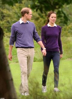 Kate Middleton and Prince William out for a walk today in Scotland.