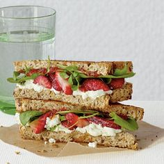 Strawberry Ricotta Toasted Sandwich - Ok none of the repins have the actual link to this recipe. And I want it. All I read is that Strawberries and ricotta go well together. I'm not sure what herb that is on the sandwich and would love to find out. But this one I will try! Some Heidelberg toast, strawberries and ricotta. Yum?