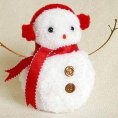 pom pom snowman craft ornament