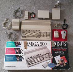 "Commodore Amiga 500 in box, extra 3.5"" drive, TV adapter, print buffer, joystick"