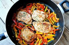Spice up your pork chop recipe with bell peppers. Make a hearty meal that's only got 10 grams of fat.