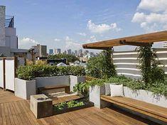 Urban oasis. Jardín rural en una terraza moderna. Diseño de cubierta vegetal