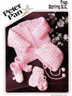 Baby Matinee Jacket, Bonnet Mittens and Bootees instructions for Dk yarns 18 - 22 ins - PDF of Vintage Crochet Patterns Vintage Crochet Patterns, Baby Knitting Patterns, Baby Patterns, Crochet Baby Jacket, Crochet Baby Clothes, Baby Set, Baby Sweaters, Double Knitting, Crochet Projects