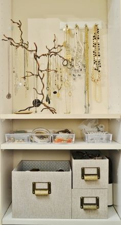 Jewelry Organization - Ok, this one I have actually done! Hanging jewelry from hooks on the wall makes so much sense!