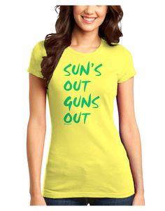 TooLoud Suns Out Guns Out - Blue Juniors T-Shirt