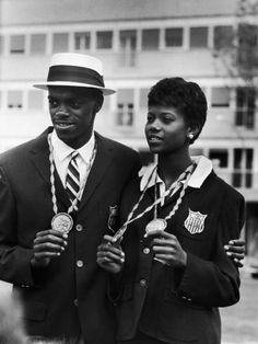 Ralph Boston Shown W. His Gold Medal for Broad Jump, Won in Olympics, W. Sprinter Wilma Rudolph Premium Photographic Print - by AllPosters. Wilma Rudolph, Tennessee State University, Olympic Gold Medals, Sports Images, Track And Field, Olympians, Black People, Black Is Beautiful, Black History