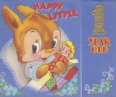Kitsch Vintage Children s Birthday Card - Cute Bunny Rabbit Cuddling Doll In Bed