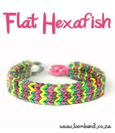Flat Hexafish loom band bracelet tutorial http://loomband.co.za/flat-hexafish-loom-band-bracelet-tutorial/