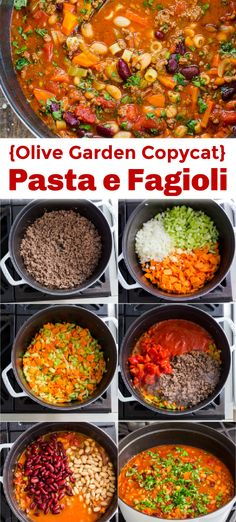 Try Pasta e Fagioli and you will be back for seconds. This Olive Garden copycat soup is loaded with delicious vegetables and protein - a true comfort food. # pasta fagioli Pasta e Fagioli (Olive Garden Copycat) Pasta E Fagioli, Pasta Fagoli Soup, Olive Garden Pasta Fagioli, Olive Garden Soups, Pasta Soup, Pasta Fagioli Crockpot, Pasta Fagioli Soup Recipe, Pasta Salad, Crab Salad