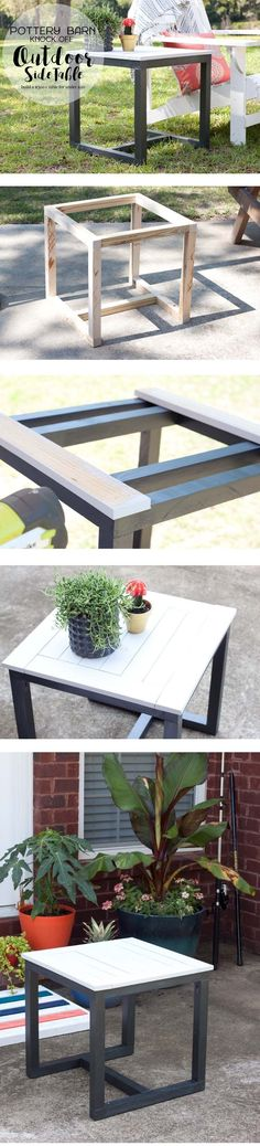 DIY Outdoor Side Table   Pottery Barn Knockoff #cheapmodernfurniture