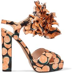 Etro Printed satin appliquéd sandals (£272) ❤ liked on Polyvore featuring shoes, sandals, multi, strappy high heel sandals, satin sandals, multi color sandals, platform sandals and platform shoes