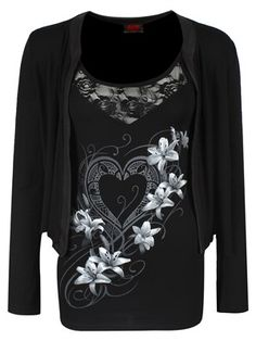 This beautiful 2 in 1 cardigan and vest set is to die for! Illustrated with an intricate heart and floral design, this black vest with lace detailing works perfectly with the simple yet elegant cardigan.