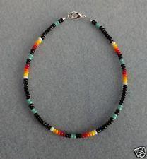 Turquoise Black Beaded Anklet, Ankle Bracelet Native American Made