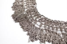 Knitted Metal Fringes NecklaceSilver statement by NFCrafts on Etsy, $300.00