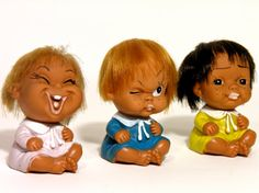 Set of 3 Japanese Dolls-YSC Made in Japan-1970-Collectible Plastic Sitting Doll-Funny Faces-Kids Room-Home Decor