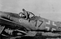 "f 109 G-14/AS W.Nr. 785 185 ""Blaue 17"", Lt. Heinz Schüler, 16./JG 5, Stavanger-Forus, March 1945. Source: facebook.com  Picture courtesy of Kjetil Akra, Bf 109 from Anton to Toni Group, facebook.com, 28 june 2015. Published in Brekken and Akkra 2008, p. 132."