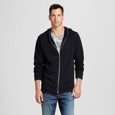 Men's Extended Full Zip Fashion Hoodie Black Slub XL - Jackson