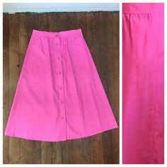 Vintage 70s A Line Button Front Skirt | Cotton Hot Pink Skirt | Minimalist Skirt | Boho Skirt | MOD Skirt | Pretty Pink Midi Skirt | Bright by VintageBobbieMaude on Etsy