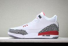 Latest 2018 Air Jordan 3 Katrina White Cement Grey-Black-Fire Red For Sale - ishoesdesign Air Jordan 3, Air Jordan Shoes, Nike Sportswear, Baskets Jordan, Iron Man, Spiderman, Camo, New Balenciaga, Shoes 2018